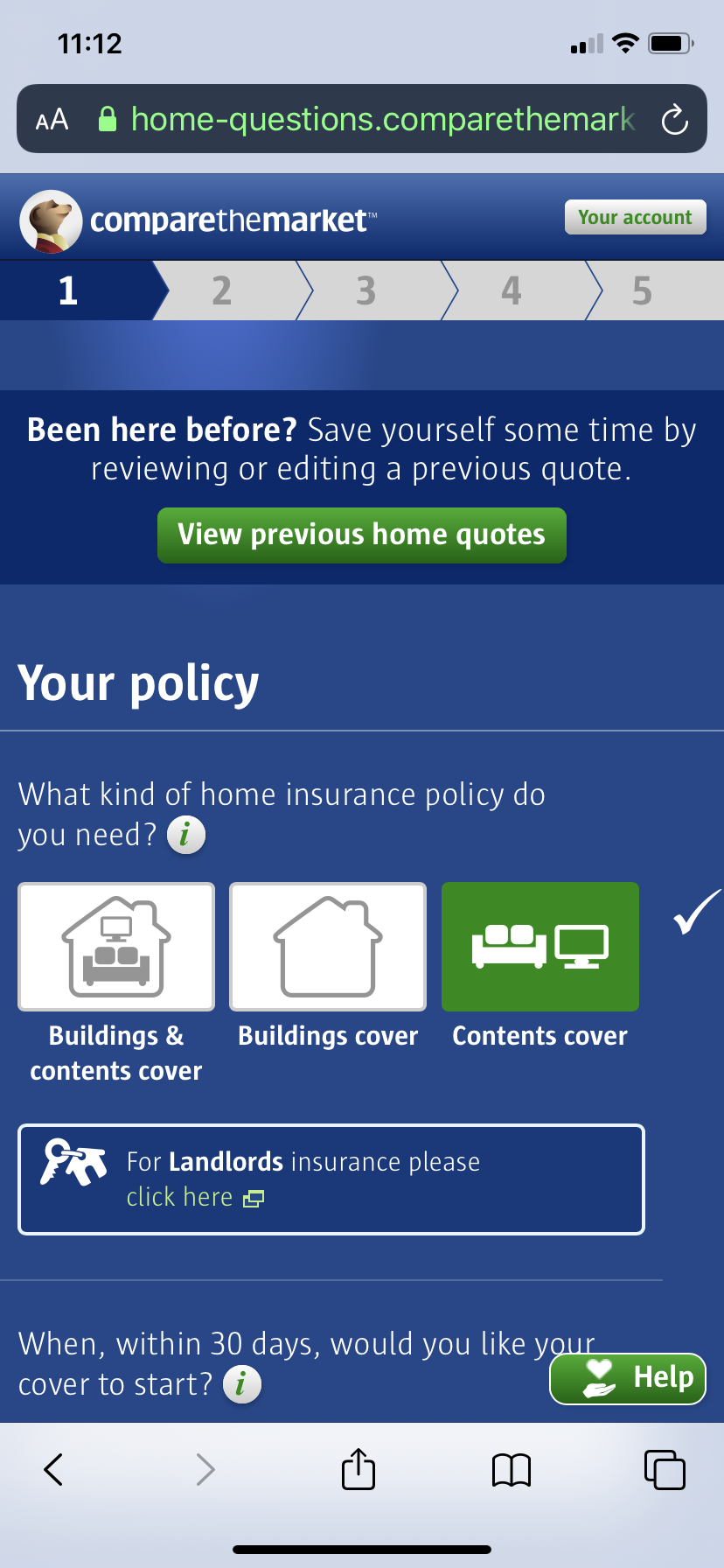 mobile form design example from compare the market