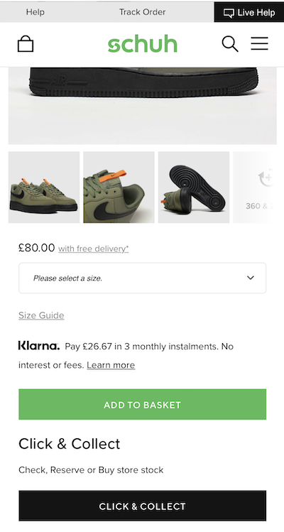 mobile form design strategy and example from schuh on how to use CTAs