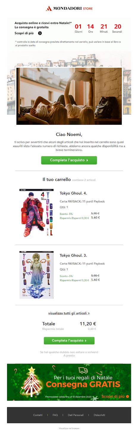SaleCycle per Mondadori Store: timer per conto alla rovescia tramite email.