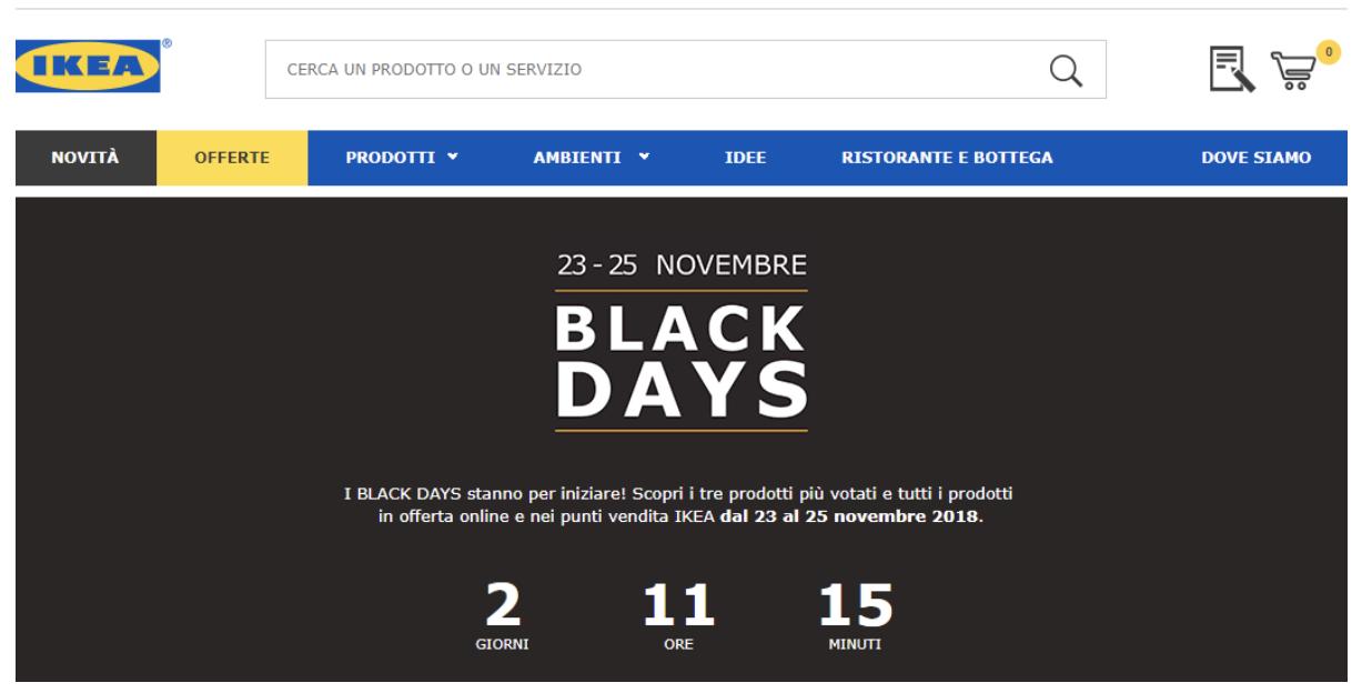 Ikea: timer per il conto alla rovescia on-site per il Black Friday.