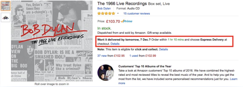 Amazon: timer per il conto alla rovescia on-site.