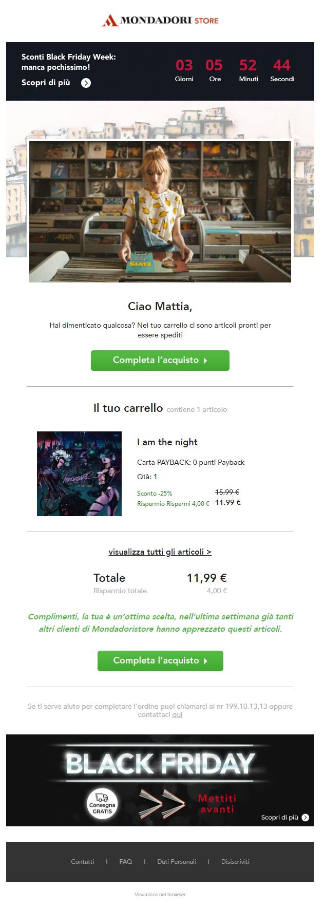 SaleCycle per Mondadori Store. Black Friday 2020: timer per il conto alla rovescia tramite email.