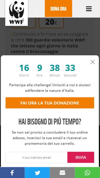 SaleCycle per WWF Italia: timer per il conto alla rovescia on-site da mobile.