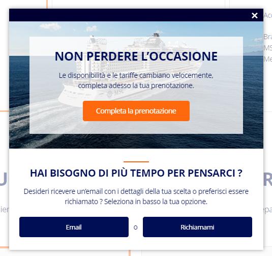 SaleCycle per MSC Cruises: servizio clienti e pop-up di assistenza telefonica on-site.