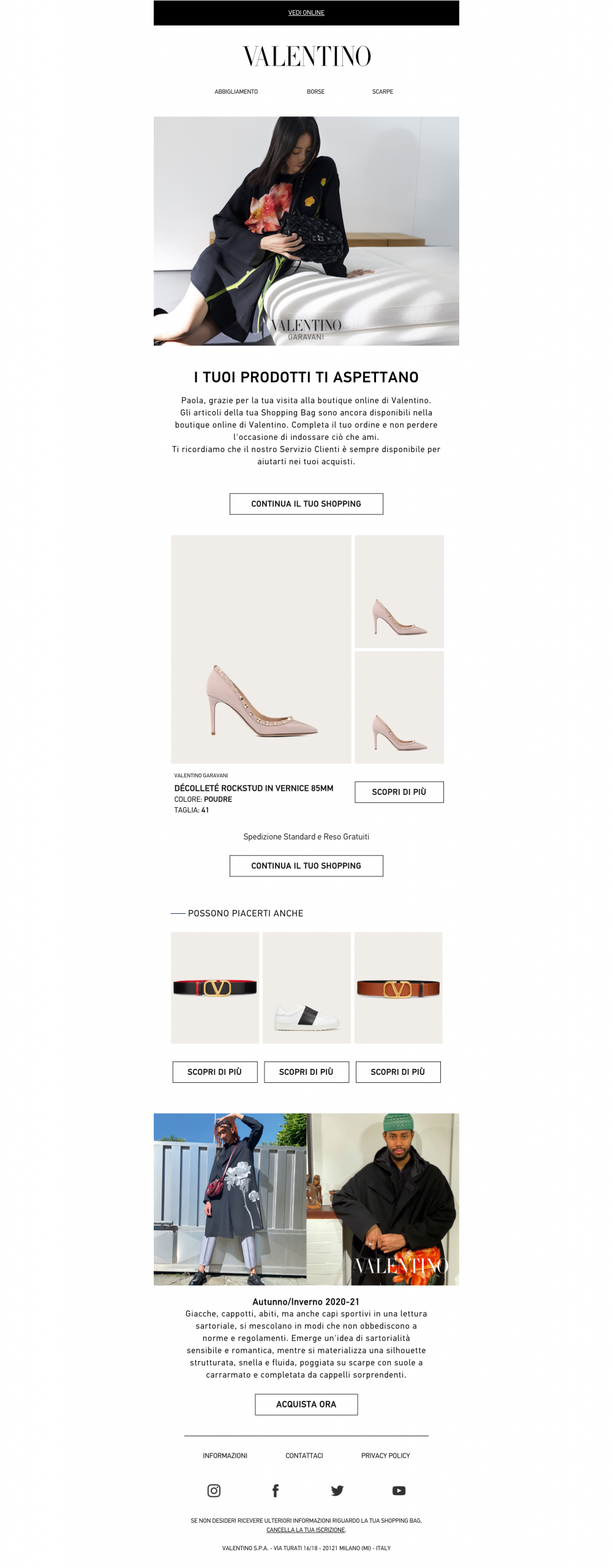 SaleCycle per Valentino: email di cross-selling e up-selling.