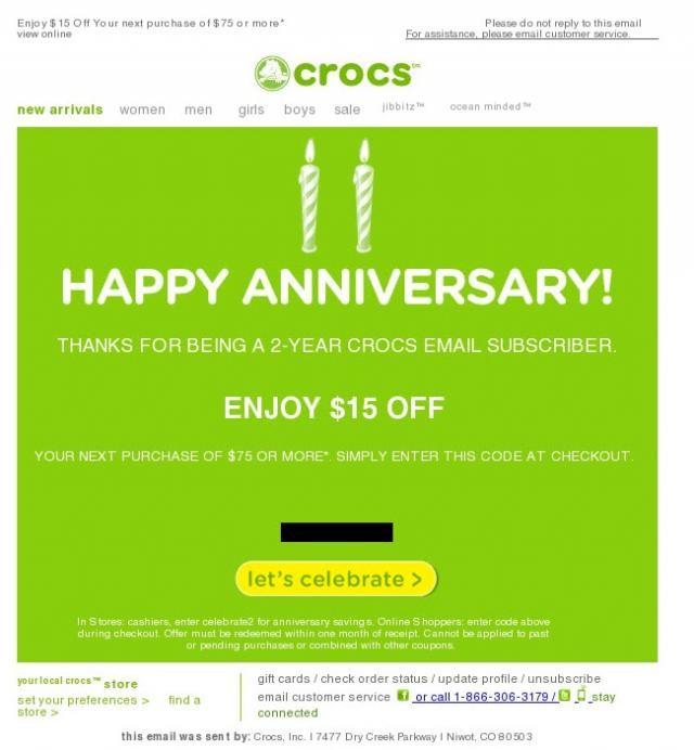 Crocs: codice sconto nelle email di anniversario.