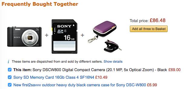 Amazon: tecniche di cross-selling e up-selling on-site.