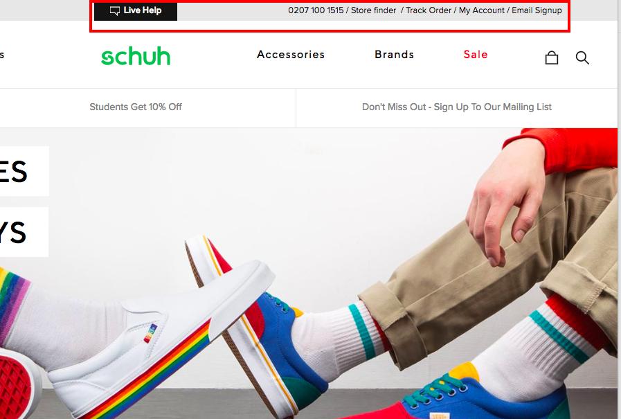 Schuh: servizio clienti e informazioni di contatto on-site.