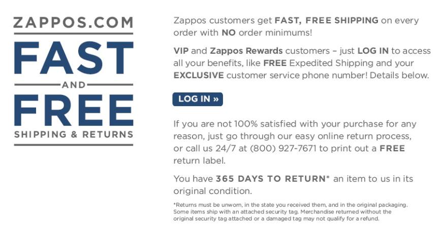 Servizio clienti di Zappos: procedure di reso e spedizioni gratuite.
