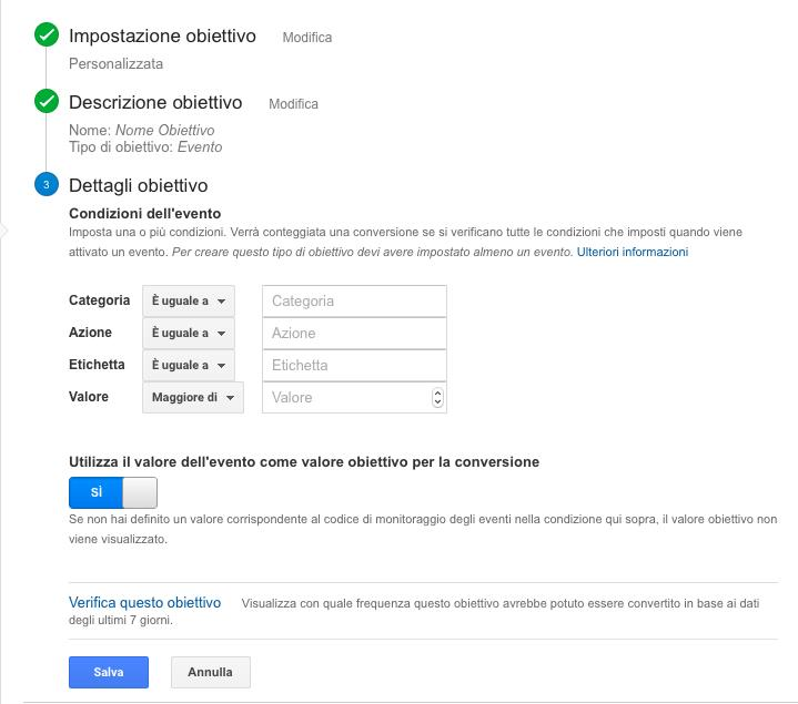 Impostazione valore dell'obiettivo su Google Analytics.