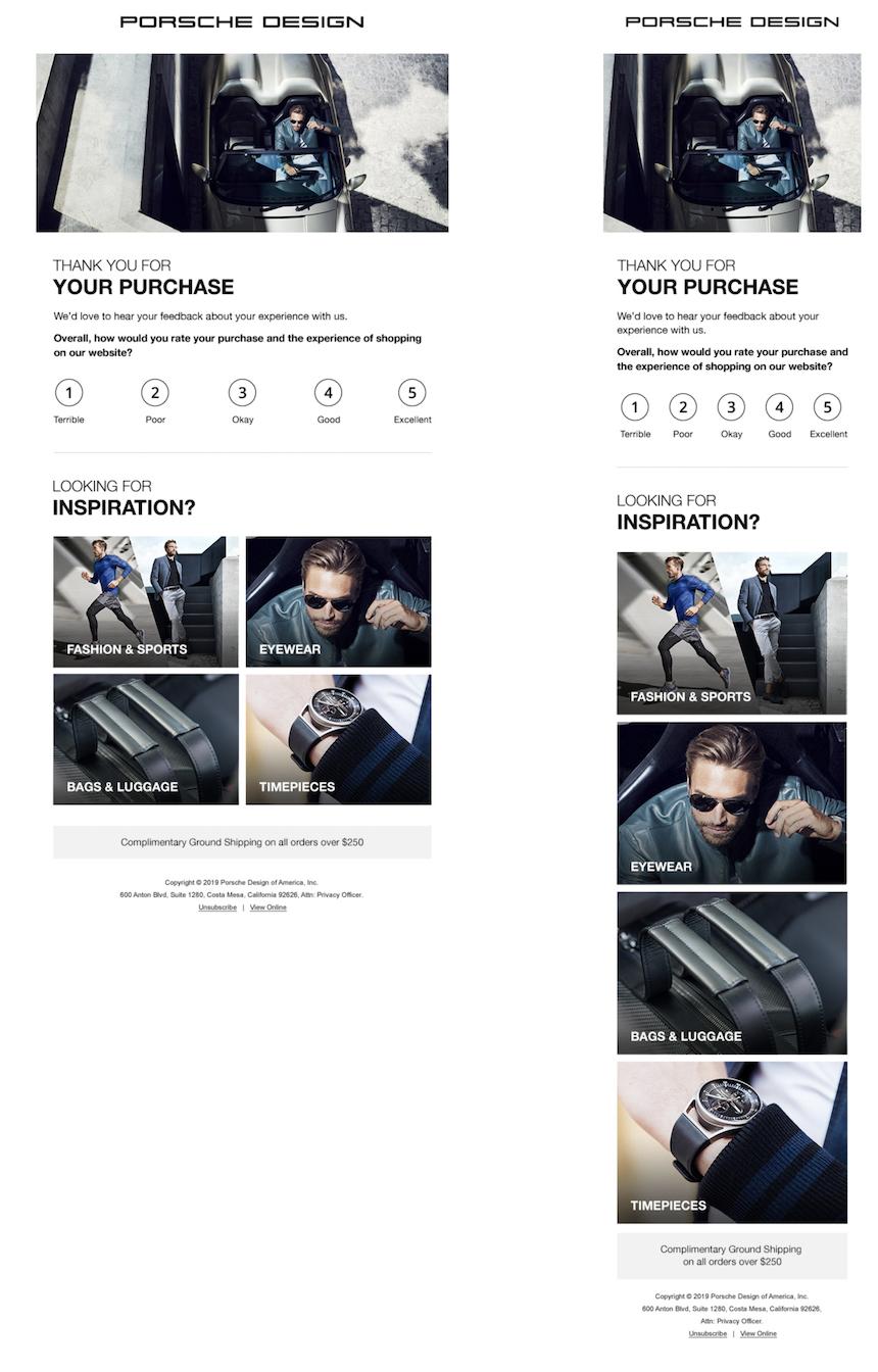 SaleCycle per Porsche: questionari per la raccolta di feedback on-site e via e-mail.